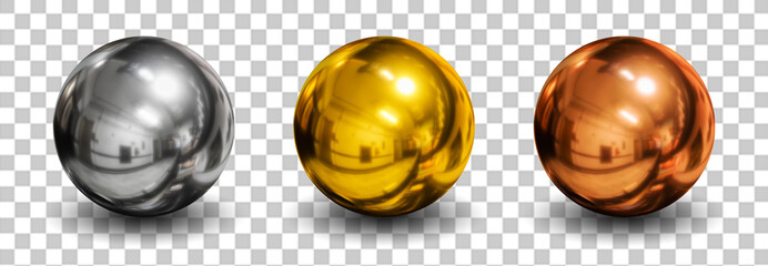 3d spheres isolated on white background with shadow. Set of crystal shape or realistic glass ball in silver, bronze, gold metal. 3d render idea for mock up on website. New geometric design. Round icon