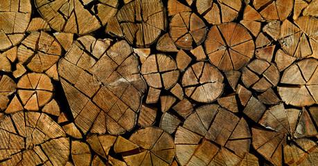 Poster de jardin Texture de bois de chauffage Holzstapel