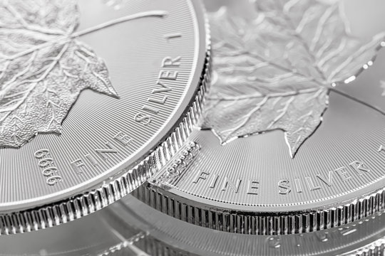 Macro Close up of a 9999 Silver Canadian Maple Leaf Bullion Coin