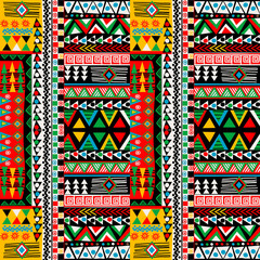 Deurstickers Boho Stijl Colored patchwork design with african ethnic motifs