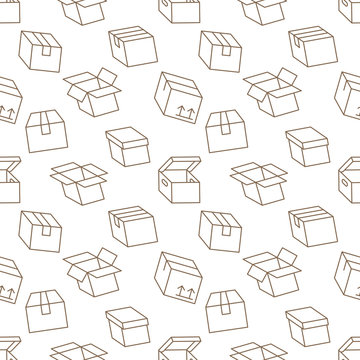 Delivery box background, cargo package seamless pattern. Various open and closed cardboard boxes, parcel flat line icons. Warehouse, storage vector illustration brown white color