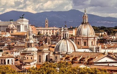 Deurstickers Rome Skyline of Rome, Italy. Rome architecture and landmark, cityscape. Panorama of the ancient city of Rome, Italy.
