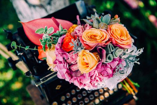 Bohemian wedding bouquet with beautiful flowers.