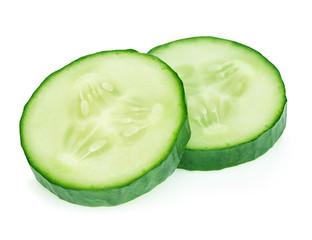 Fresh slice cucumber close-up on white background.
