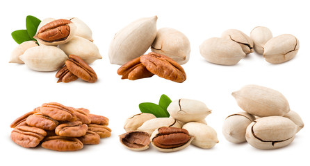 pecan, nut, isolated on white background, full depth of field