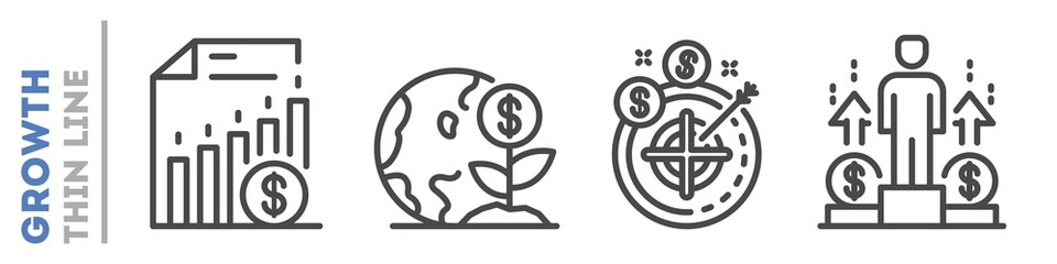 Set of thin line icons about financial or sales growth isolated on white. Outline business development pictograms collection. Success logos. Motivation, profit vector elements for infographic, web.