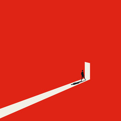 Business opportunity or career success vector concept with man walking into door with light. Symbol of courage, ambition