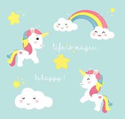 unicorno arcobaleno ed elementi carini