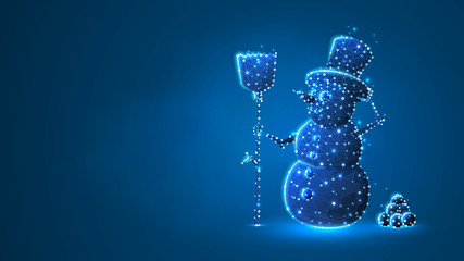 Snowman with a broom silhouette. Low poly, wireframe, digital 3d vector illustration. Wintertime, snow days, winter fun concept on blue neon background. Abstract polygonal image
