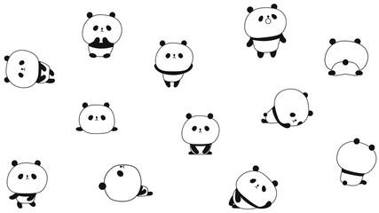 Little panda cub. Set. Chinese civil. Mascot. Cartoon clumsy and cute.