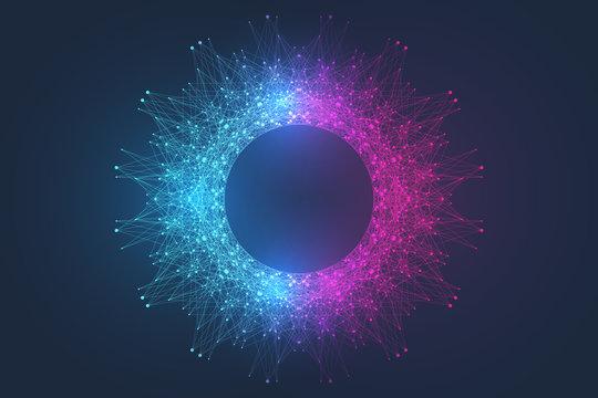 Scientific vector illustration quantum computer technology. Plexus fiction effect. Deep learning artificial intelligence. Big data algorithms visualization. Quantum explosion background.