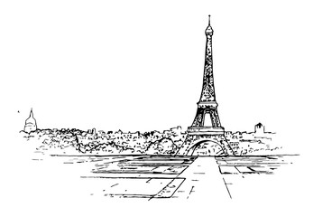 Paris drawing, old city.the sketch is black and white.vector image.