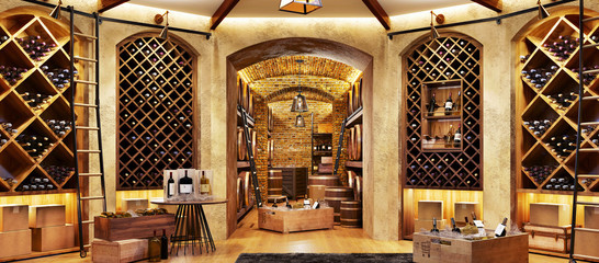 Wine cellar with bottles on wooden shelves Wall mural