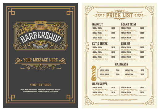 Barbershop Price List Flyer. Vector Layered