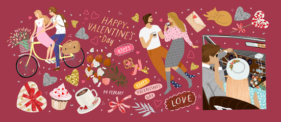 Papiers peints Cartoon voitures Happy Valentine's day! Vector illustration for the holiday of love - February 14th. Drawings of a couple at home, newlyweds in a retro car and lovers on a bicycle