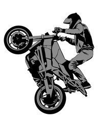 Fototapete - Young man on sports bike performs tricks. Isolated silhouette on a white background