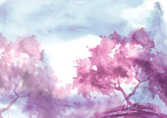 Watercolor landscape. pink trees, bushes,spruce, pine, cedar.Watercolor group of trees - willow, sakura, aspen,cherry, apple. The silhouette of the forest, sunset, sunrise. Summer, spring, autumn.
