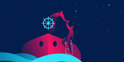 Onboarding business concept in red and blue neon gradients