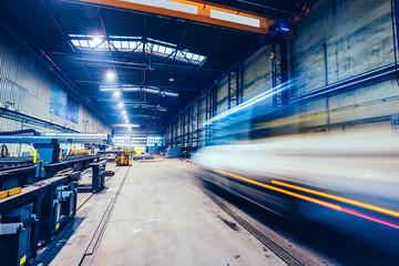 Printed roller blinds F1 Factory work. Forklift moving at shipyard.