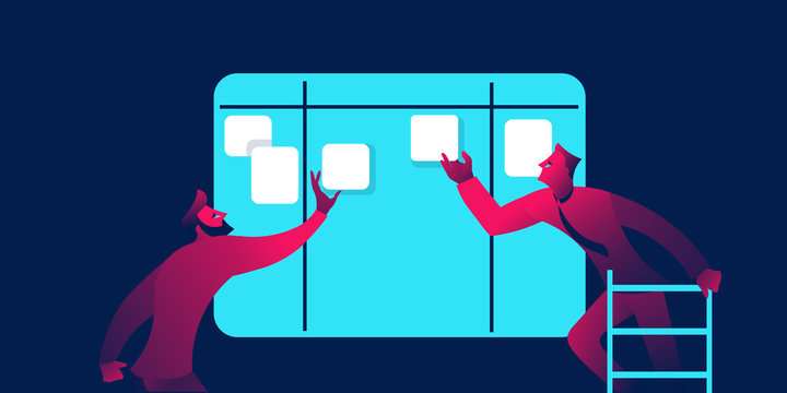 Content plan or kanban board business concept in red and blue neon gradients