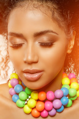 Beauty black skin woman fashion african ethnic female face portrait. Young girl model with afro and...