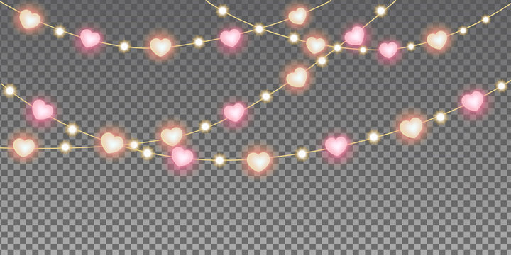 Valentine's day heart lights garland