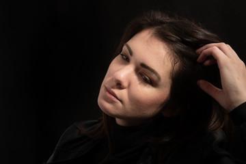 Frauenprofil Portrait traurig
