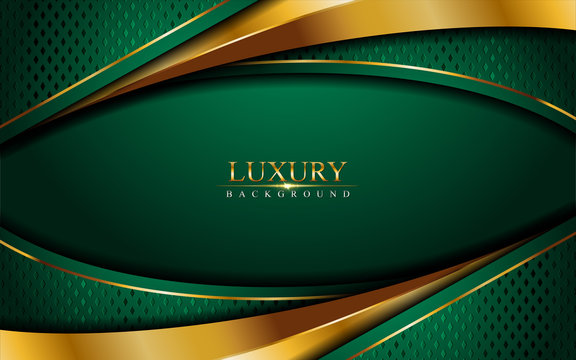 Luxury green background combine with glowing golden lines. Overlap layer textured background