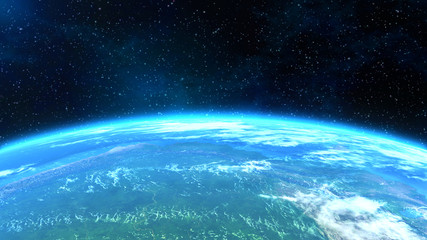 An epic , horizontal close-up view of the Earth. 3D computer generated image. Elements of this image were furnished by NASA.