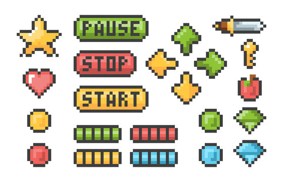 Pixel buttons. Retro video games trophy pictogram menu bars ui elements vector pixel set. Illustration button game collection, web retro pixel