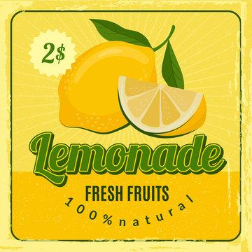 Lemonade retro poster. Brochure marketing placard with fresh lemon juice vector restaurant marketing design. Lemonade juice, fresh drink placard with price illustration