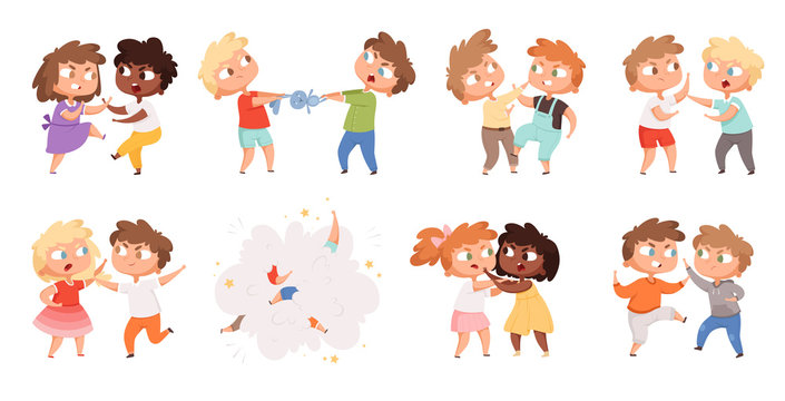 Boys fighting. School bully angry kids punishing in playground vector cartoon characters set. Illustration angry boy and girl, bullying problem, behavior aggression