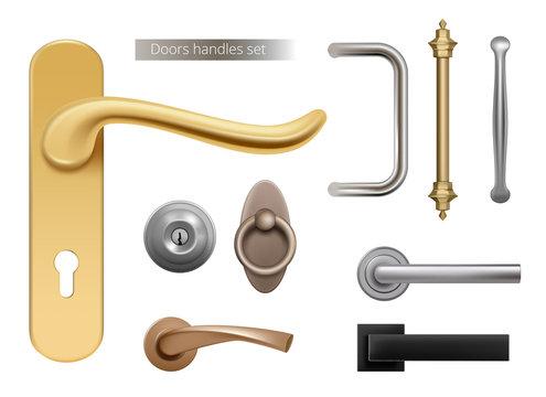 Modern door handles. Silver and golden metal furniture handles for opened room doors interior elements vector realistic. Handle door, lock and knob illustration