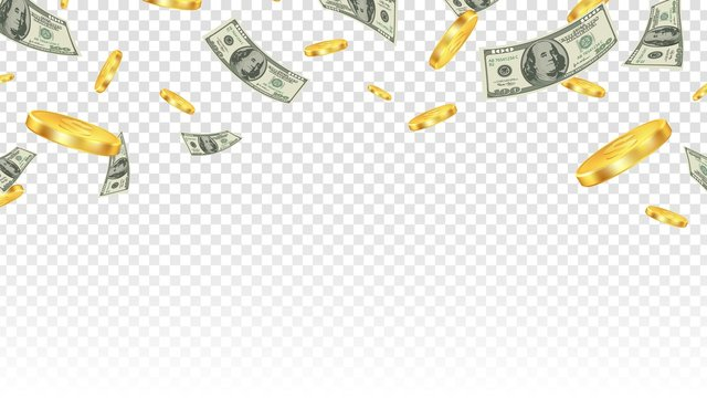 Flying money. Gold coins and banknotes in the air isolated on transparent background. Vector financial or bank or lottery win background. Illustration finance cash and currency coin, jackpot success