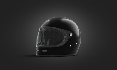 Blank black extreme helmet with glass mockup, dark background