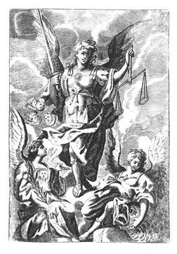 Antique vintage religious allegorical engraving or drawing of archangel Gabriel with scale and sword and other angels on clouds of heaven.Illustration from Book Die Betrubte Und noch Ihrem Beliebten