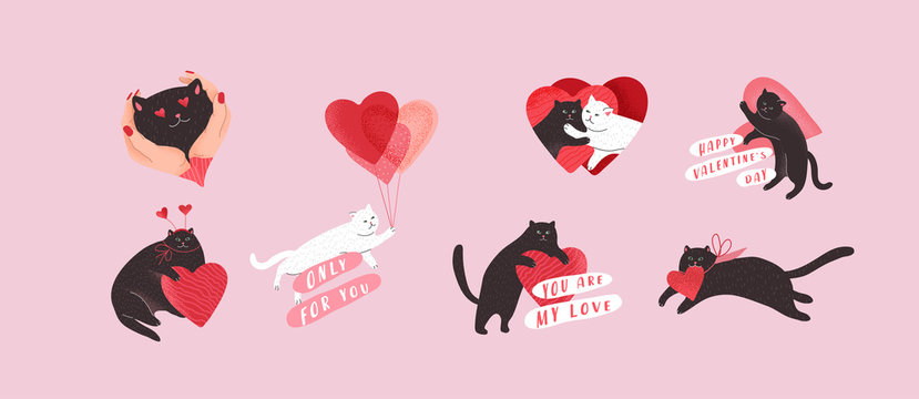 Cute cats in love. Romantic Valentines Day set for greeting card or poster. Flying cat on balloon, special delivery, kitten in hands. Flyers, invitation, brochure. Vector design concept