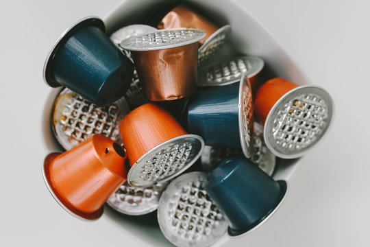 Used espresso coffee capsules environmental issue