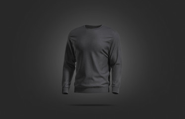 Blank black casual sweatshirt mock up, dark backgroud