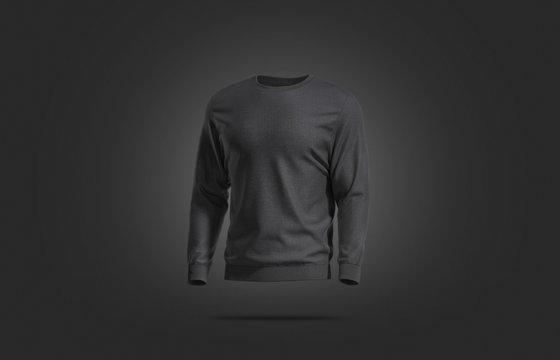 Blank black casual sweatshirt mock up, dark backgroud