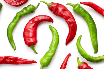 Canvas Prints Hot chili peppers red and green chili peppers isolated on white background