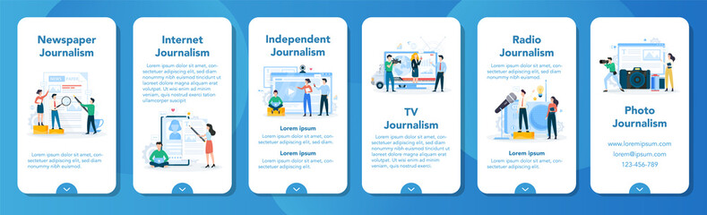 Journalist mobile application banner set. TV reporter with microphone. Fototapete