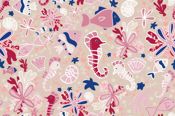 seamless pattern. underwater world. sea animals. vector illustration