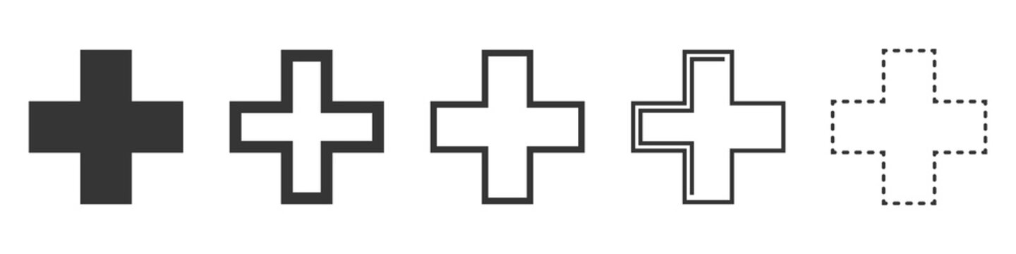 Set of Medical Cross vector icons isolated.