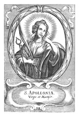 Antique vintage religious allegorical engraving or drawing of Christian holy woman saint Apollonia holding pliers and tooth.Illustration from Book Die Betrubte Und noch Ihrem Beliebten..., Austrian