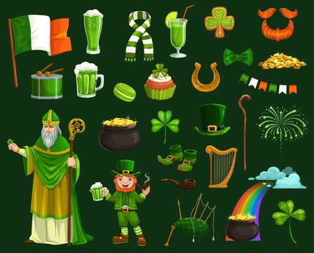 St Patricks Day vector symbols, Irish leprechaun and pot with gold coins, shamrock or clover leaves, green beer and lucky horseshoe, hat, boots, orange beard and rainbow. Ireland holiday
