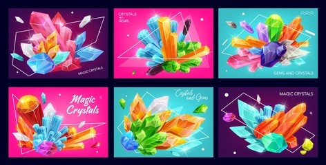 Magic gemstones and crystals with polygons and abstract geometric shapes. Vector banners of diamonds, amethyst and quartz with shiny facets, jewelry, mineral rocks and jewels
