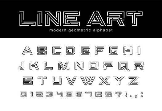 Geometric line art font. Technology, futuristic maze, digital tech abstract alphabet. Letters and numbers for network connect, construction, game logo design. Modern minimalistic vector typeface set