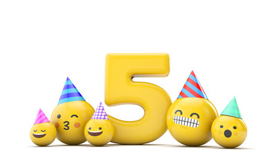 Number 5 emoji birthday party celebration. 3D Render