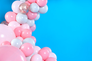 Beautiful composition with balloons on blue background. Space for text